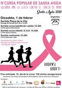 Cartell Cursa Santa Agda 2020 contra el càncer de mama.
